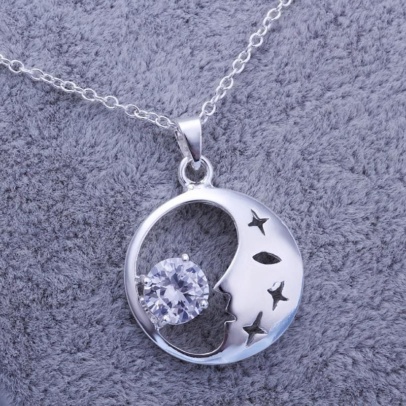 Vienna Jewelry Sterling Silver Crescent & Crystal Pendant