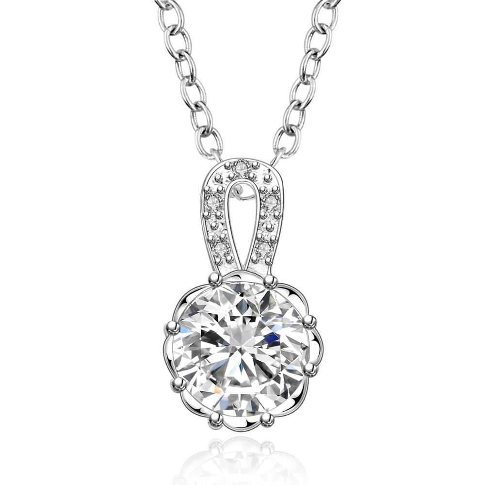 Vienna Jewelry Sterling Silver Classical Center Crystal Drop Necklace