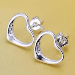 Vienna Jewelry Sterling Silver Hollow Heart Stud Earring - Thumbnail 0
