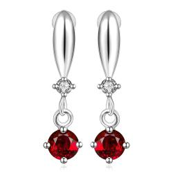 Vienna Jewelry Sterling Silver Ruby Gem Vertical Drop Earring - Thumbnail 0