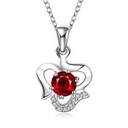 Vienna Jewelry Sterling Silver Curved Heart with Ruby Red Gem Necklace - Thumbnail 0