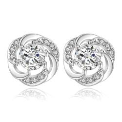 Vienna Jewelry Sterling Silver Curved Circular Crystal Stud Earring - Thumbnail 0