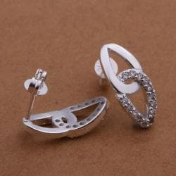Vienna Jewelry Sterling Silver Duo-Oval Shaped Stud Earring with Stones Covering - Thumbnail 0