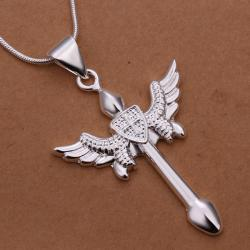 Vienna Jewelry Sterling Silver Cross Spear Drop Necklace - Thumbnail 0