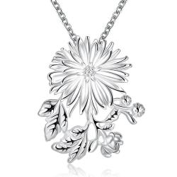 Vienna Jewelry Sterling Silver Blossoming Orchid Clover Drop Necklace - Thumbnail 0