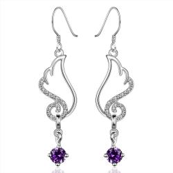 Vienna Jewelry Sterling Silver Butterfly Purple Citrine Wings Drop Earring - Thumbnail 0