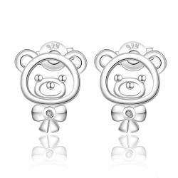 Vienna Jewelry Sterling Silver Laser Cut Teddy Bear Stud Earring - Thumbnail 0