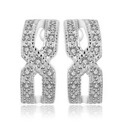 Vienna Jewelry Sterling Silver Criss Cross Stud Earring - Thumbnail 0