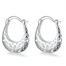 Vienna Jewelry Sterling Silver Laser Cut Abstract Hoop Clasps - Thumbnail 0