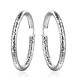 Vienna Jewelry Sterling Silver Mid Size Intertwined Hoop Earring - Thumbnail 0