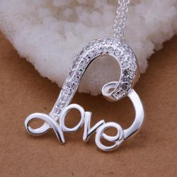 Vienna Jewelry Sterling Silver Curved Loved Pendant - Thumbnail 0