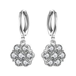 Vienna Jewelry Sterling Silver Stones Clover Shaped Drop Earring - Thumbnail 0