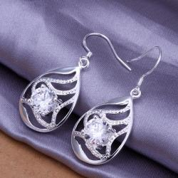 Vienna Jewelry Sterling Silver Laser Cut Curved Pendant Earring - Thumbnail 0