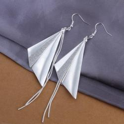 Vienna Jewelry Sterling Silver Large Triangle Drop Earring - Thumbnail 0