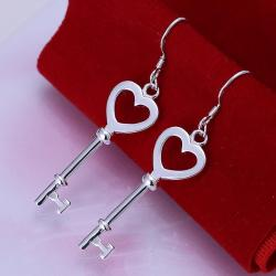 Vienna Jewelry Sterling Silver Heart Shaped Keychain Earring - Thumbnail 0