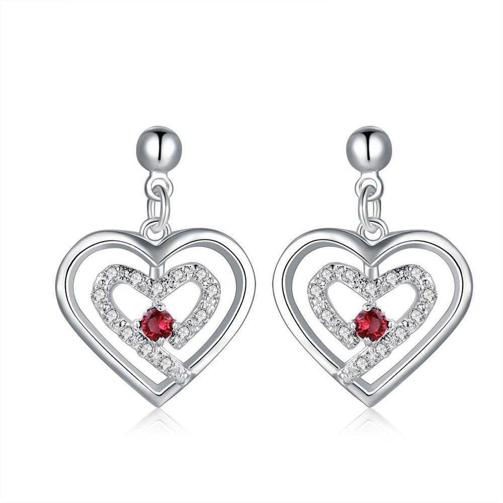 Vienna Jewelry Sterling Silver Stones & Ruby Heart Earring