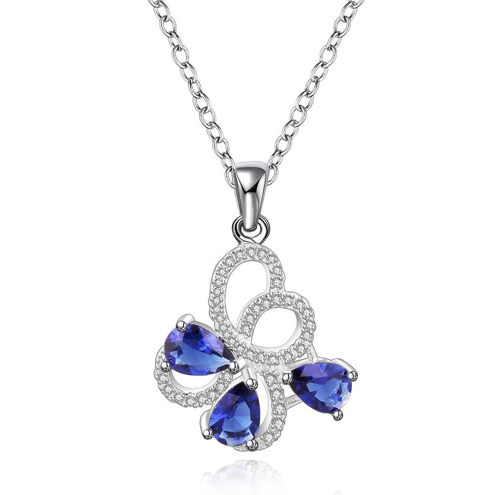 Vienna Jewelry Sterling Silver Trio-Sapphire Curved Floral Petal Necklace