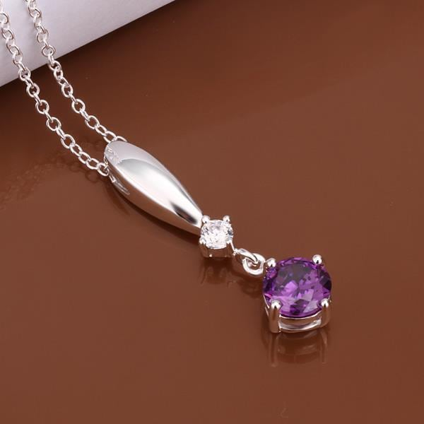 Vienna Jewelry Sterling Silver Dangling Purple Citrine Gem Necklace