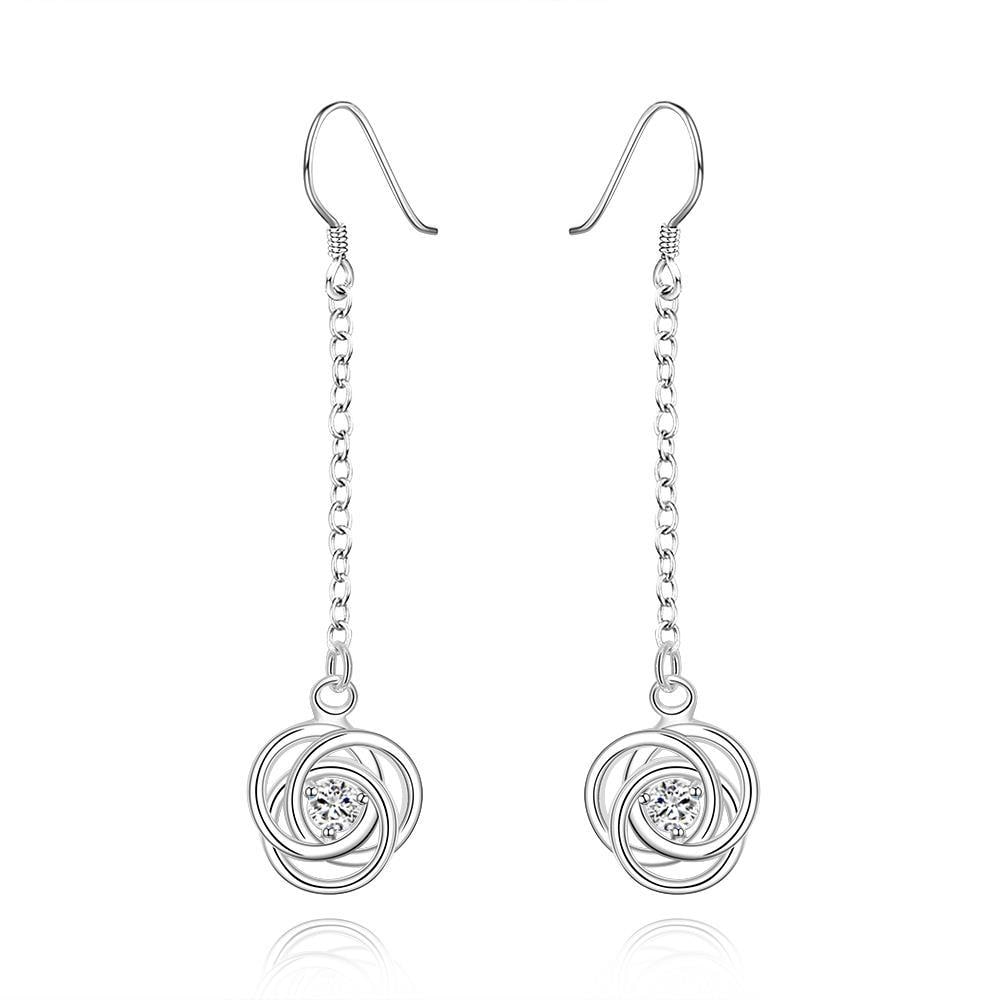 Vienna Jewelry Sterling Silver Drop Crystal Stone Circle Earring