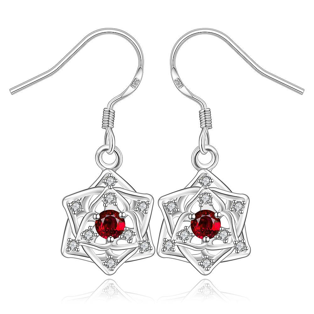 Vienna Jewelry Sterling Silver Ruby Star Pendant Drop Earring