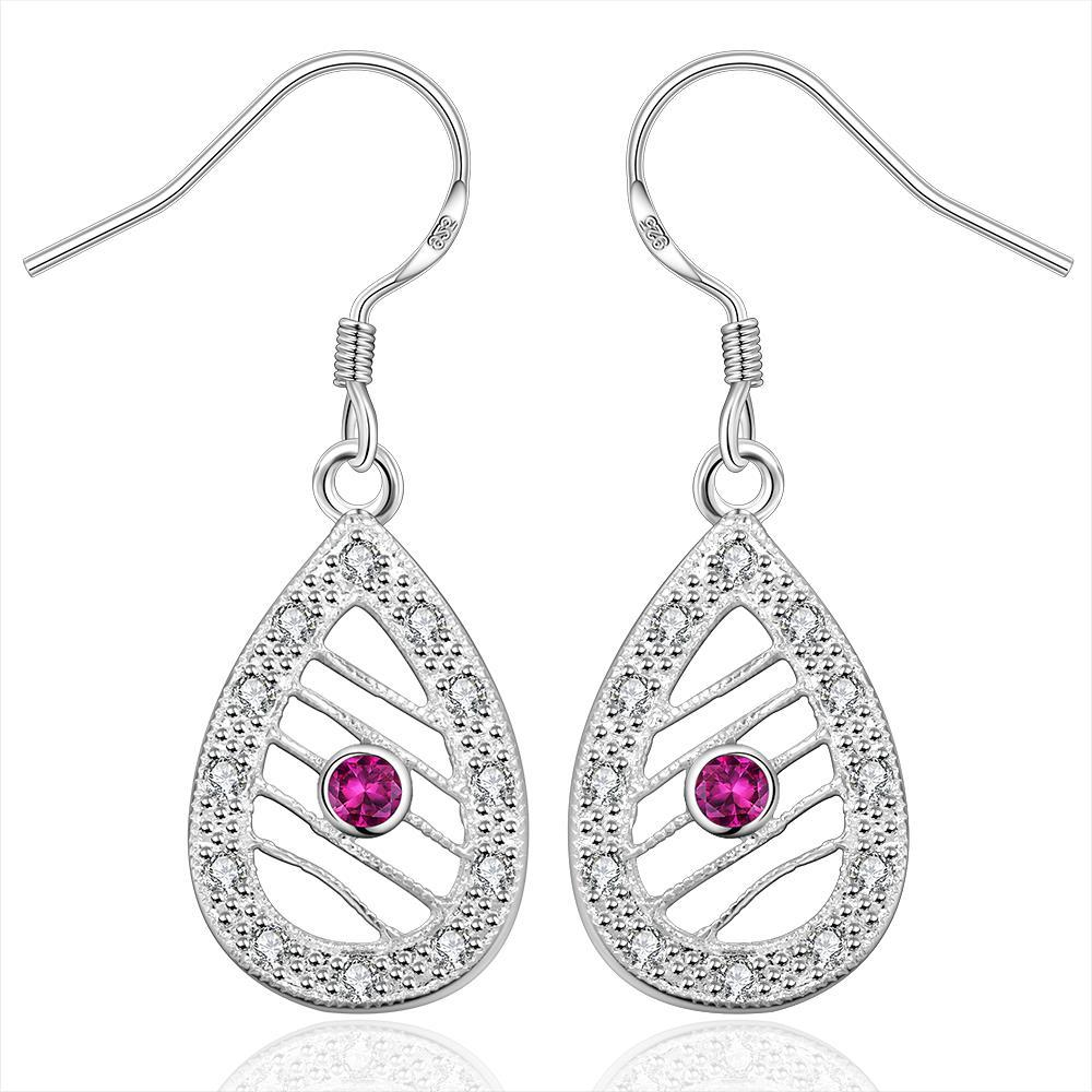 Vienna Jewelry Sterling Silver Drop Laser Cut Tear Drop Drop Earring