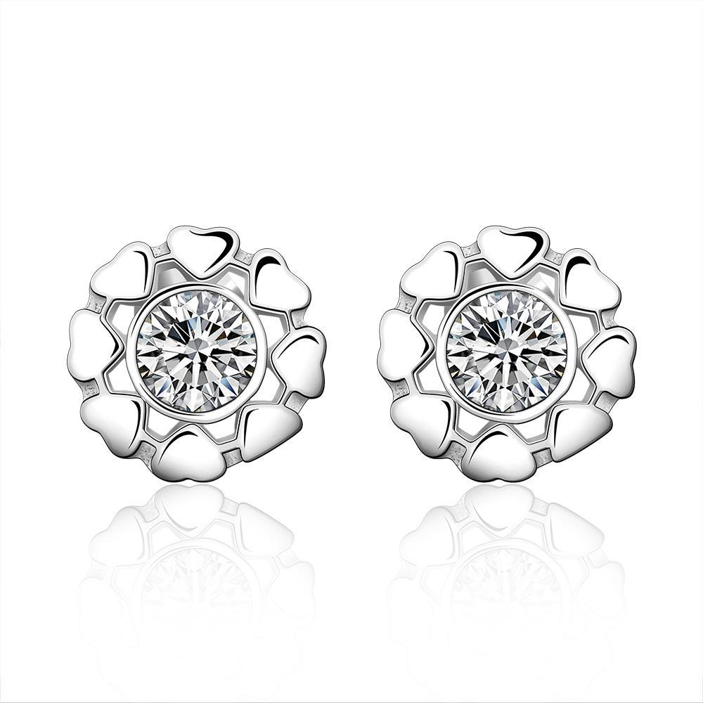 Vienna Jewelry Sterling Silver Surronding Heart Crystal Stud Earring