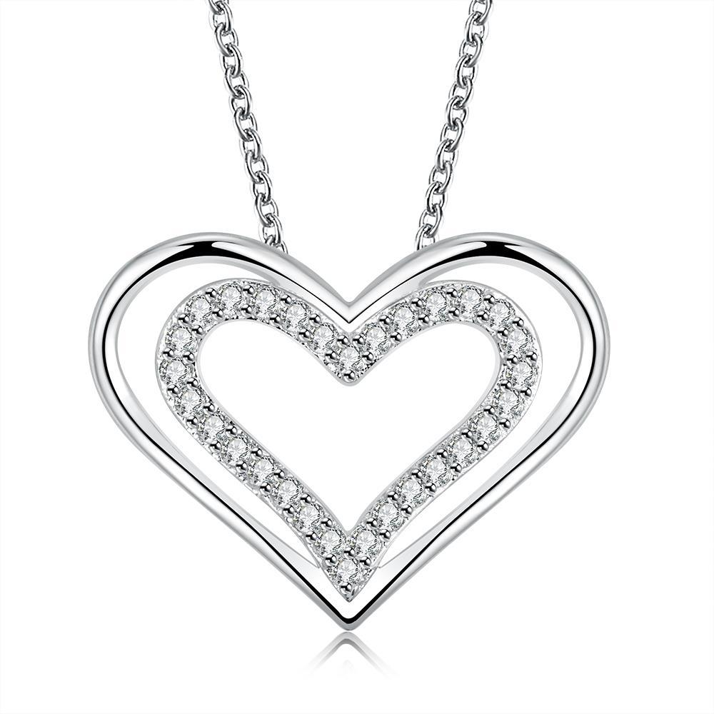 Vienna Jewelry Sterling Silver Petite Hollow Heart Necklace - Thumbnail 0