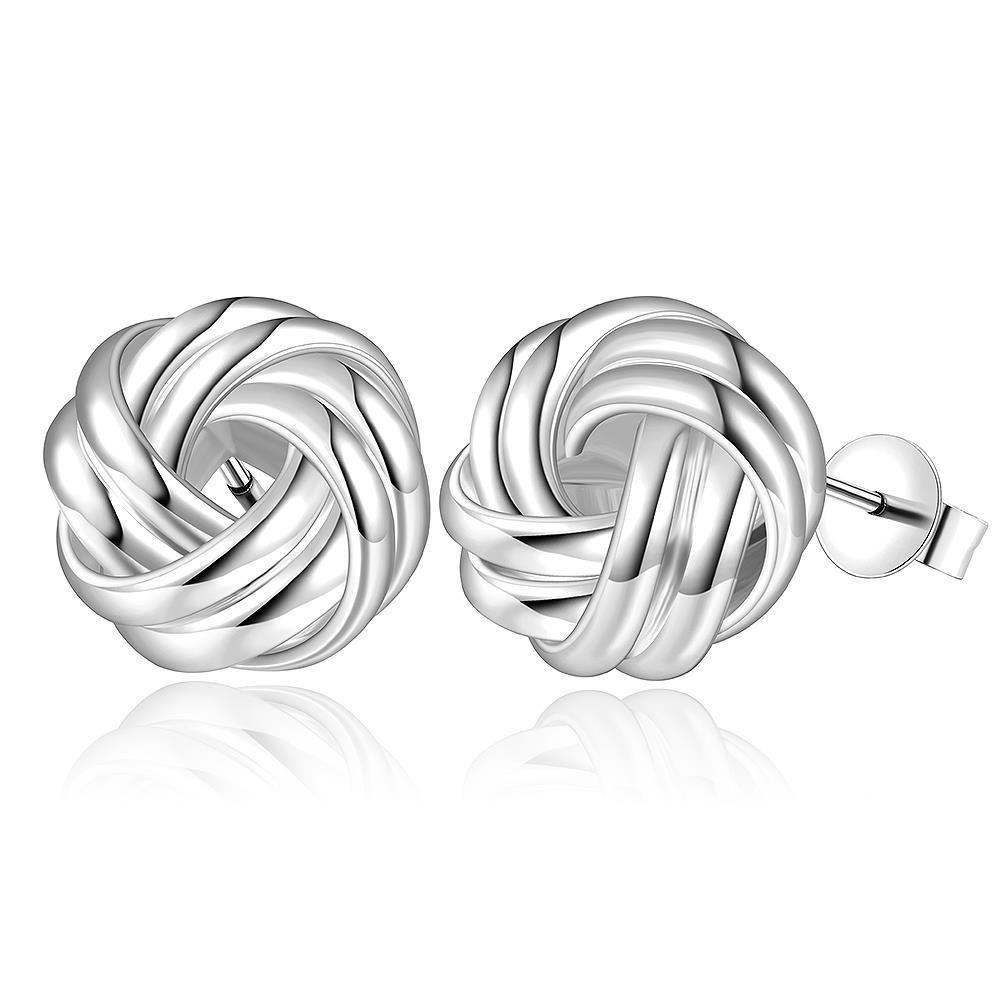Vienna Jewelry Sterling Silver Laser Tone Mesh Love Knot Earring