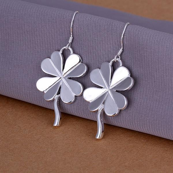 Vienna Jewelry Sterling Silver Drop Clover Shaped Earring