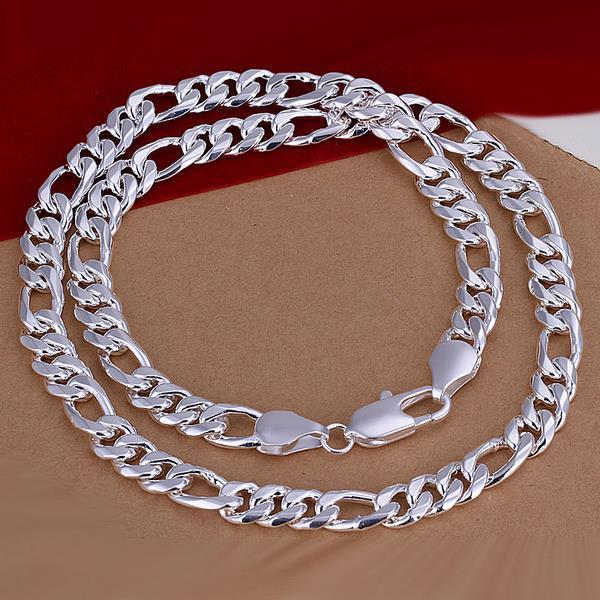 Vienna Jewelry Sterling Silver Multi-Locked Chain Necklace