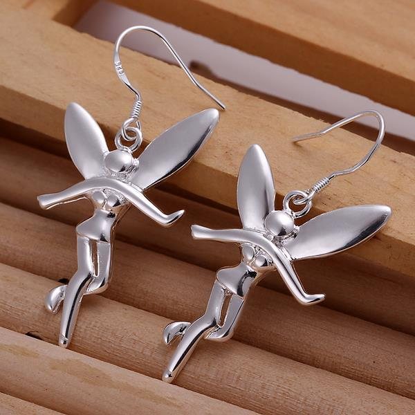 Vienna Jewelry Sterling Silver Drop Angels Earring