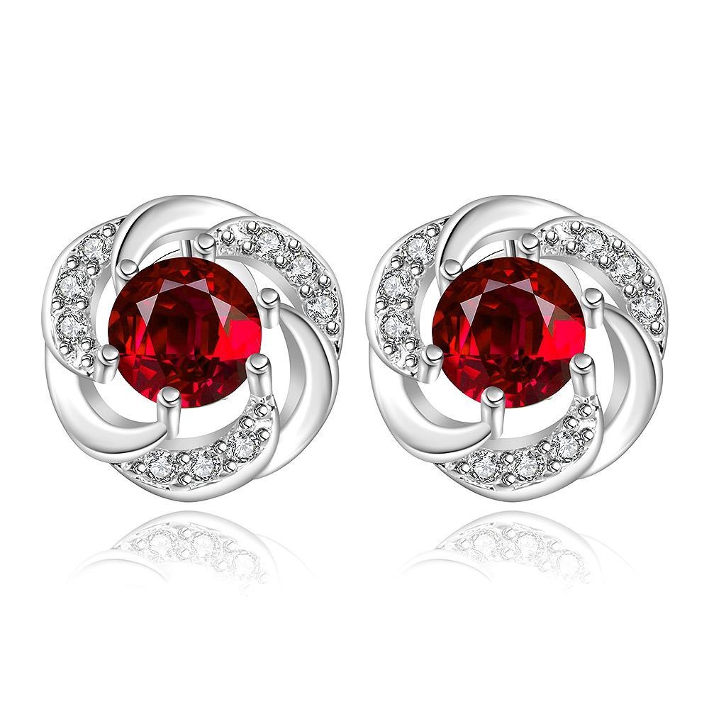 Vienna Jewelry Sterling Silver Curved Circular Ruby Stud Earring