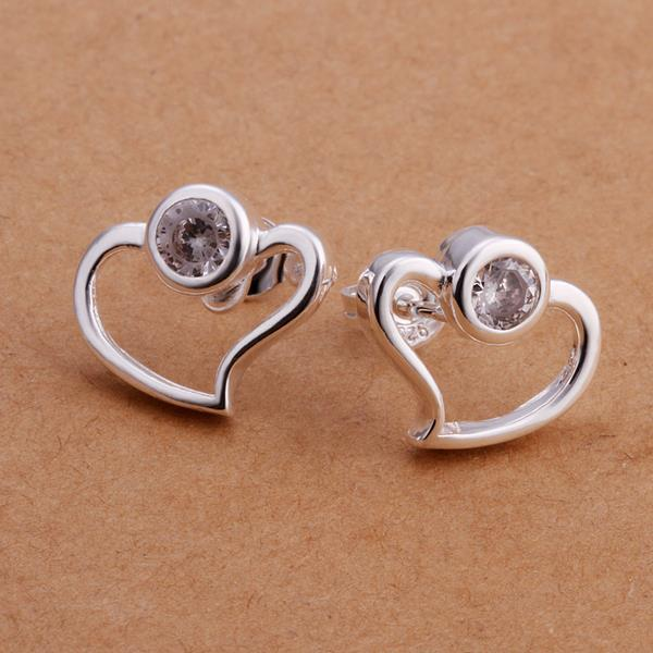 Vienna Jewelry Sterling Silver Abstract Curved Heart Shaped Earring with Purple Citrine