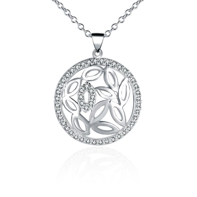 Vienna Jewelry Sterling Silver Laser Cut Floral Shaped Emblem Necklace