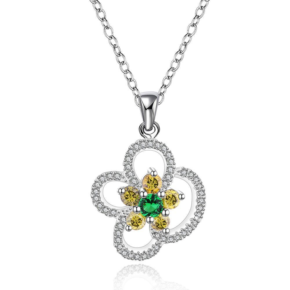 Vienna Jewelry Sterling Silver Yellow Citrine Floral Petal Drop Necklace