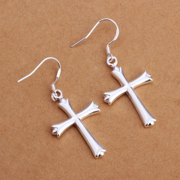 Vienna Jewelry Sterling Silver Classical Cross Earring