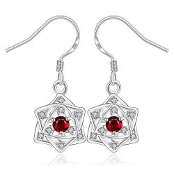 Vienna Jewelry Sterling Silver Ruby Star Pendant Drop Earring - Thumbnail 0