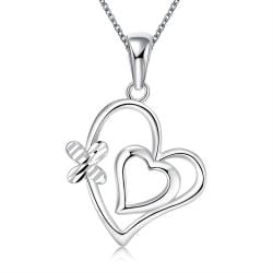 Vienna Jewelry Sterling Silver Duo Petite Heart Necklace - Thumbnail 0