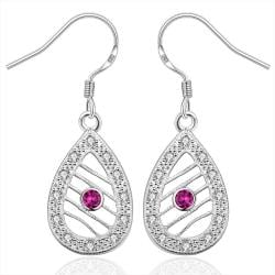 Vienna Jewelry Sterling Silver Drop Laser Cut Tear Drop Drop Earring - Thumbnail 0
