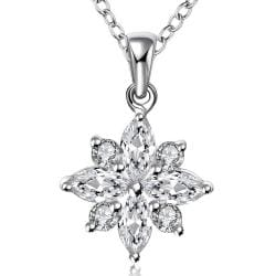 Vienna Jewelry Sterling Silver Crystal Filled Snowflake Pendant Necklace - Thumbnail 0