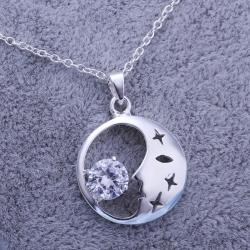 Vienna Jewelry Sterling Silver Crescent & Crystal Pendant - Thumbnail 0