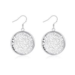 Vienna Jewelry Sterling Silver Laser Cut Circular Emblem Drop Earring - Thumbnail 0