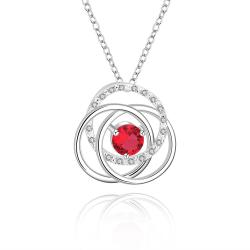 Vienna Jewelry Sterling Silver Multi Curved Ruby Red Pendant Necklace - Thumbnail 0