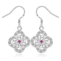 Vienna Jewelry Sterling Silver Laser Cut Clover Drop Earring - Thumbnail 0