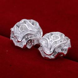 Vienna Jewelry Sterling Silver Blossoming Floral Petal Studs - Thumbnail 0