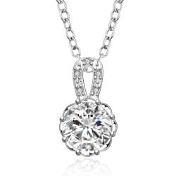 Vienna Jewelry Sterling Silver Classical Center Crystal Drop Necklace - Thumbnail 0