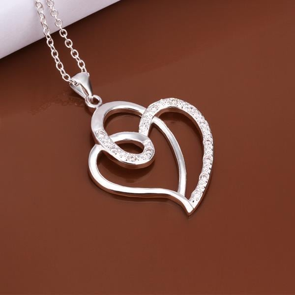 Vienna Jewelry Sterling Silver Curved Heart Pendant Necklace