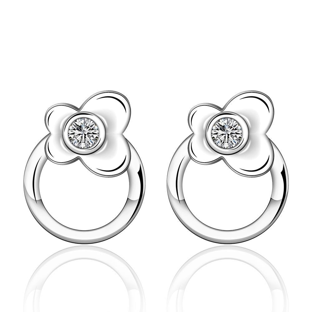 Vienna Jewelry Sterling Silver Petite Circular Floral Earring