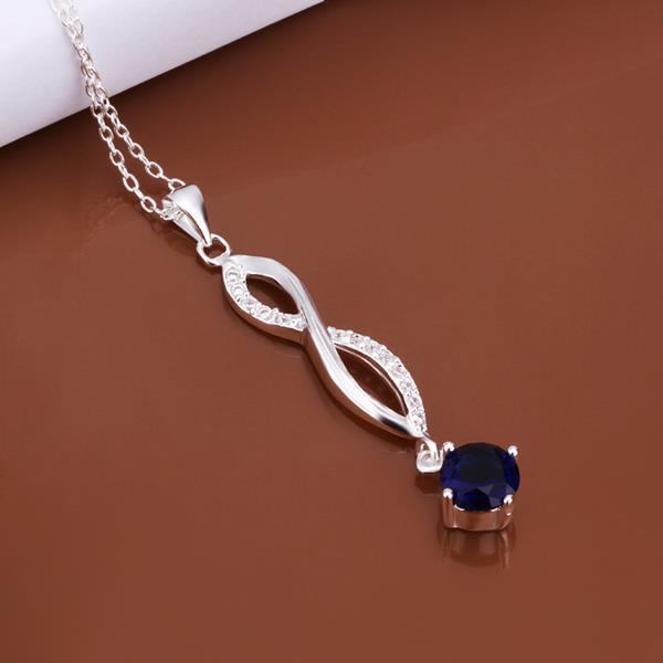 Vienna Jewelry Sterling Silver Mock Sapphie Gem Dangling Necklace