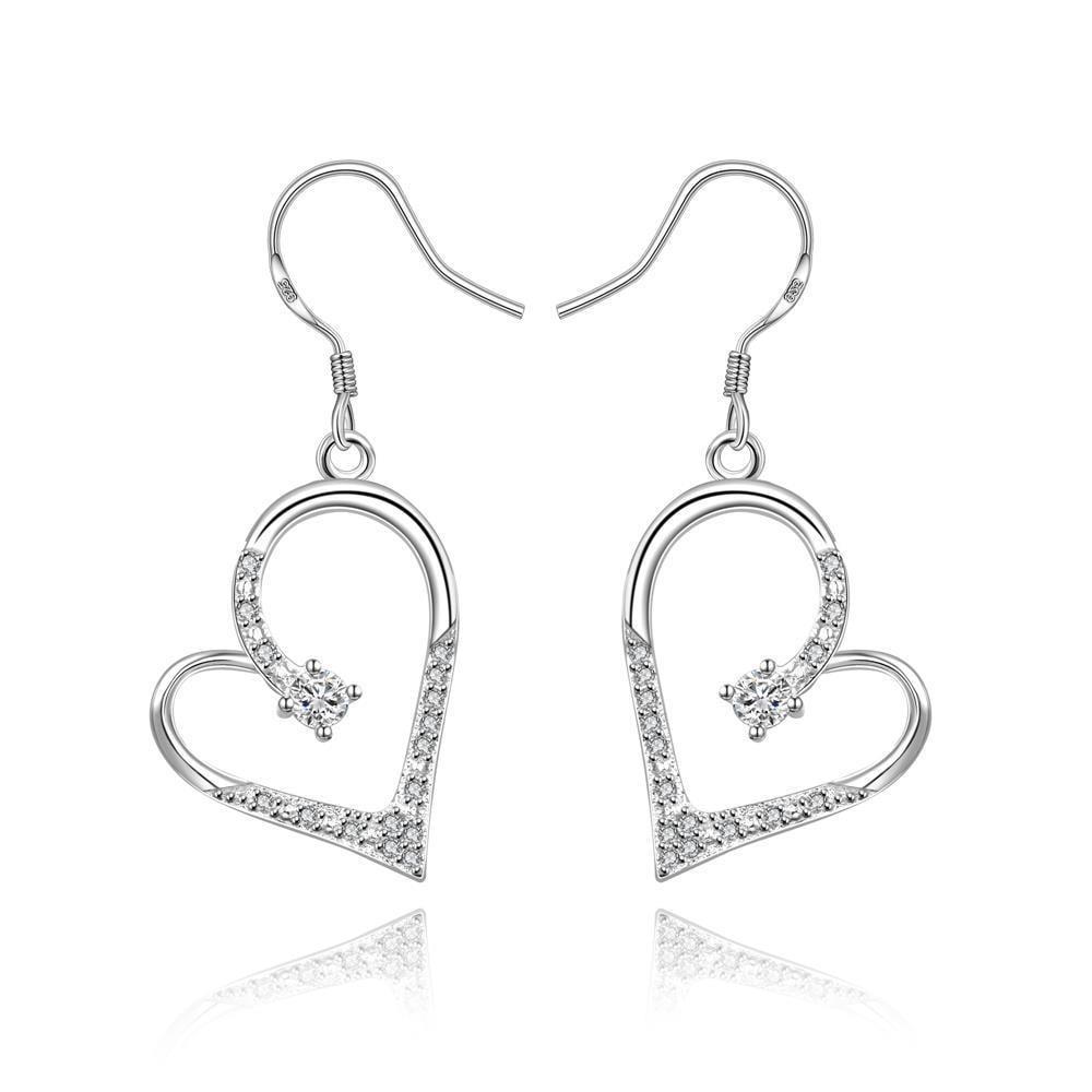 Vienna Jewelry Sterling Silver Hollow Petite Heart Shaped Drop Earring